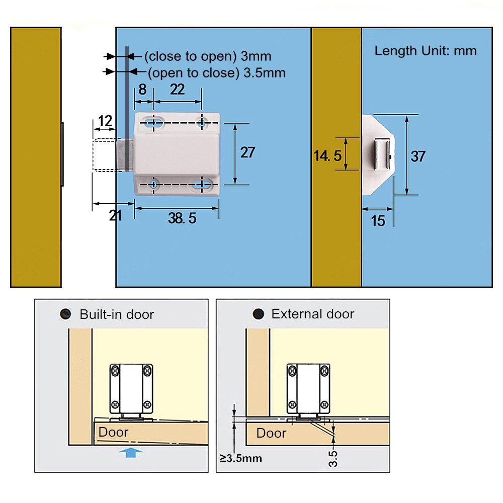 pression magn/étique Release Intercepte Cabinet portes Push Placard magn/étique Loquet de porte pour ouvrir loquets 10/pcs