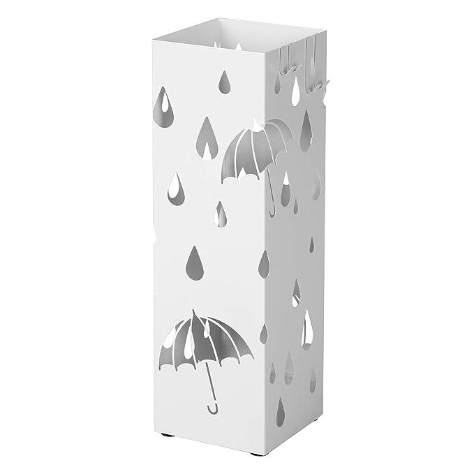 SONGMICS Paragüero, Soporte de Paraguas, con Gancho y Plato de plástico, 49 x 15,5 x 15,5 cm, Cuadrado, Blanco LUC49W