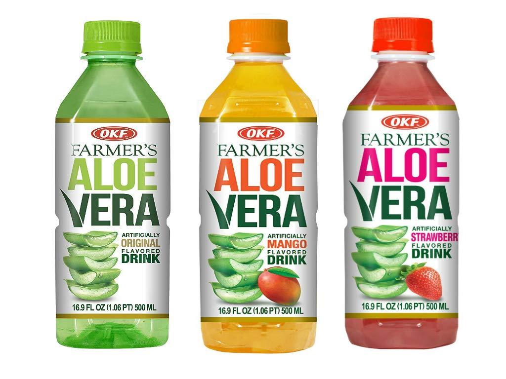 OKF Farmer's Aloe Vera Drink, Original, Mango and Strawberry, 16.9 Fluid Ounce (Pack of 20 each)