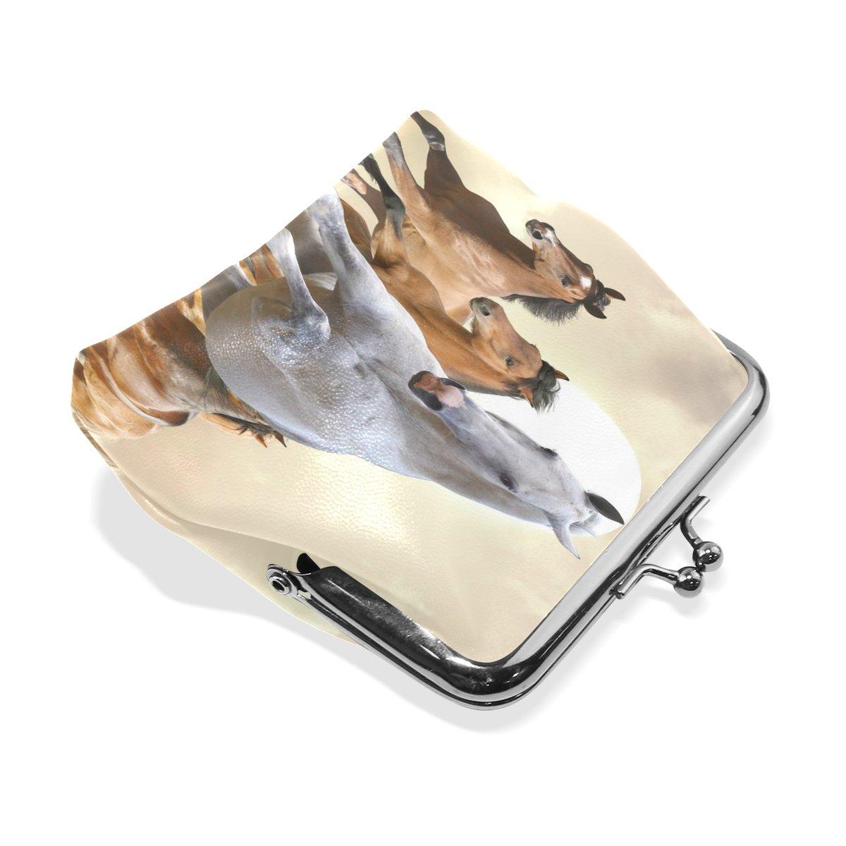 Coin Purse Horse Run Sky Wallet Buckle Clutch Handbag For Women Girls Gift
