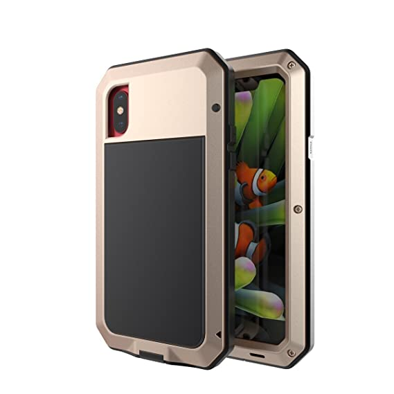 detailing 92107 2060c iPhone X Case,Mangix Shockproof Water Resistant Aluminum Metal [Outter]  Super Anti Shake Silicone [Inner] Fully Body Protection Tempered Glass  Screen ...