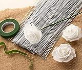 Floral Wire - 300 Piece Flower Wire, 18 Gauge Floral Stem Wire for Florist Flower Arrangement, Bouquet Stem Warpping and DIY Craft, White, 16 Inches