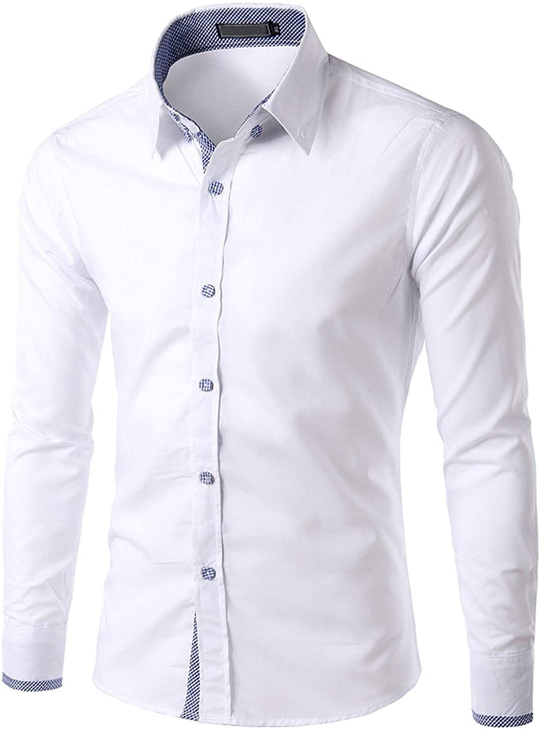 Mens New Recreational Button Long Sleeve Shirt Fashion Pure Long Sleeve Top,White,M,C