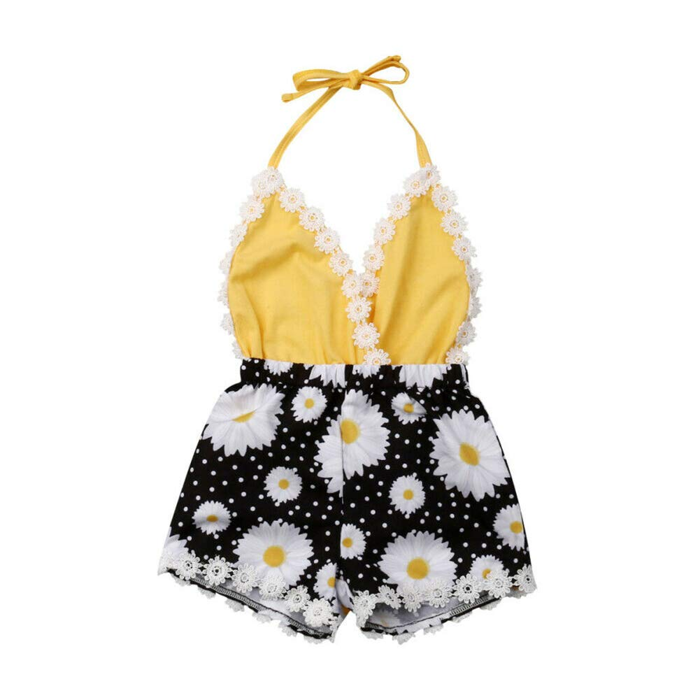 Newborn Baby Girl Sunflower Romper Lemon Lace Strap Backless Bodysuit Jumpsuit Outfits Clothes One Piece Summer