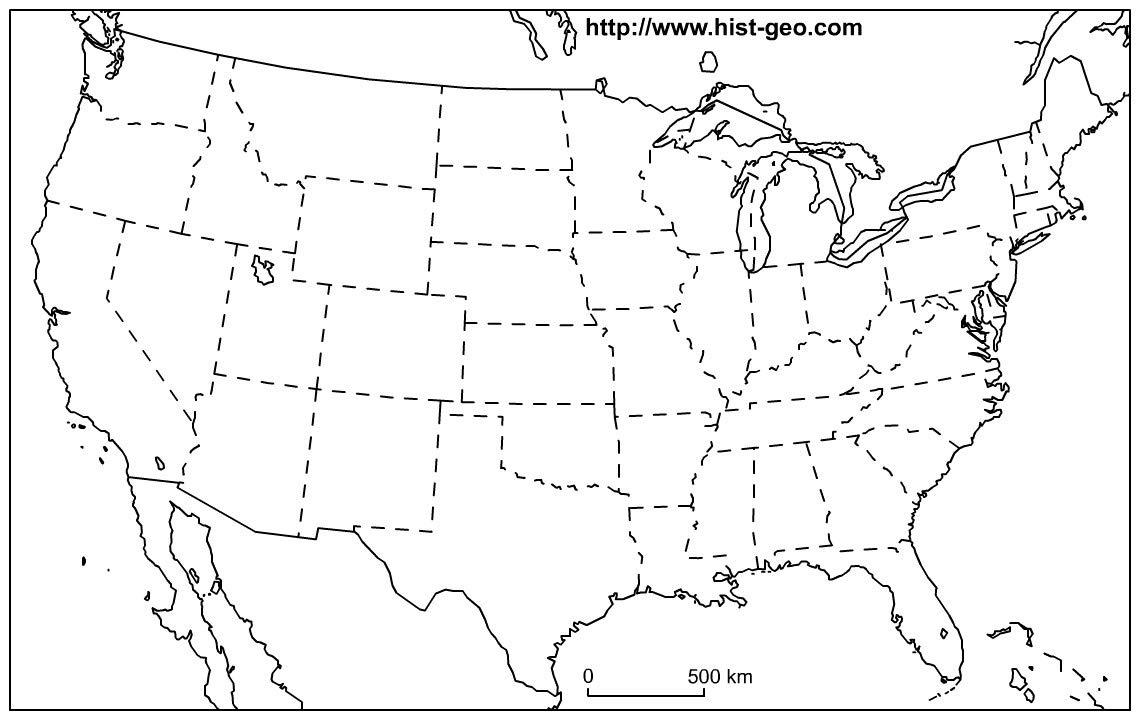 Amazon.com: Home Comforts Laminated Map - US States Blank Map 48 ...
