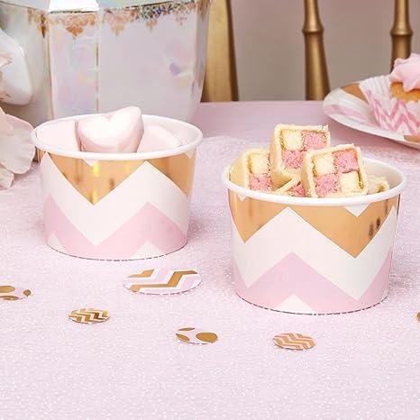 Helado cartón zigzag Color Rosa Oro 8 pieza – Vasos de papel helado cartón isbecher desechables