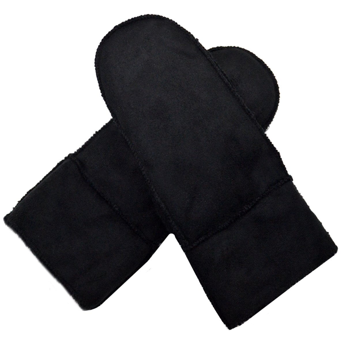 YAOSEN Men Winter Warm Mittens Suede Fabric Gloves with Fur Cuff (Black)