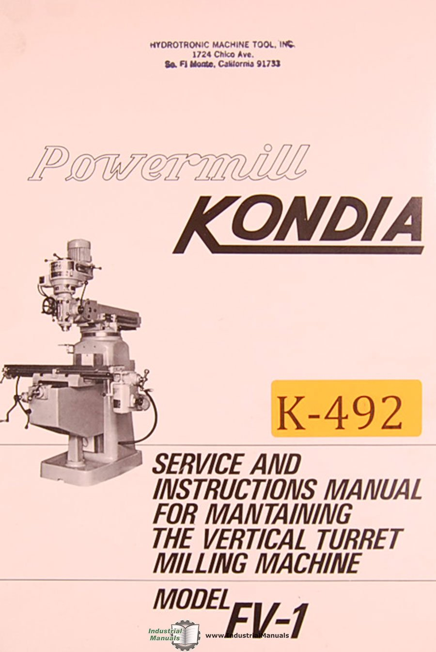 Kondia FV-1 Powermill Milling Machine Service and parts Manual