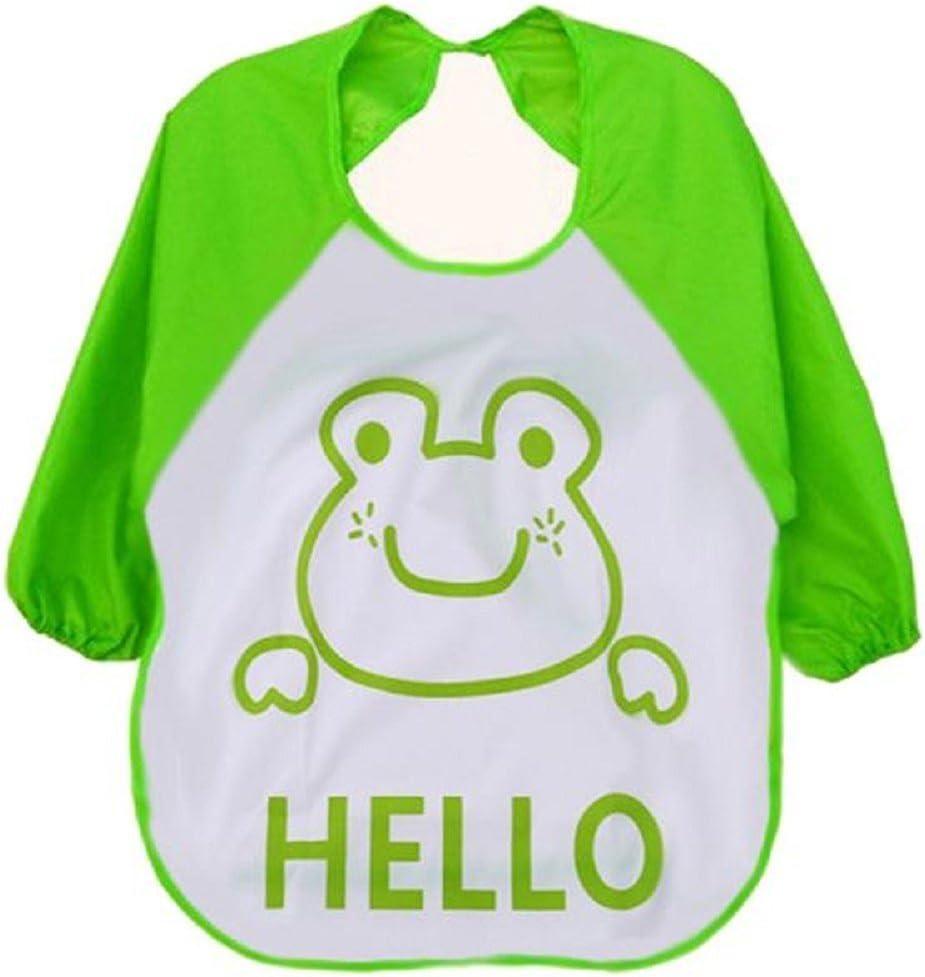 Auxma de dibujos animados Los niños para niños plástico translúcido suave para bebés baberos impermeables(verde)