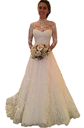 Graceprom High Neck Lace Wedding Dress With Long Sleeves Backless ...