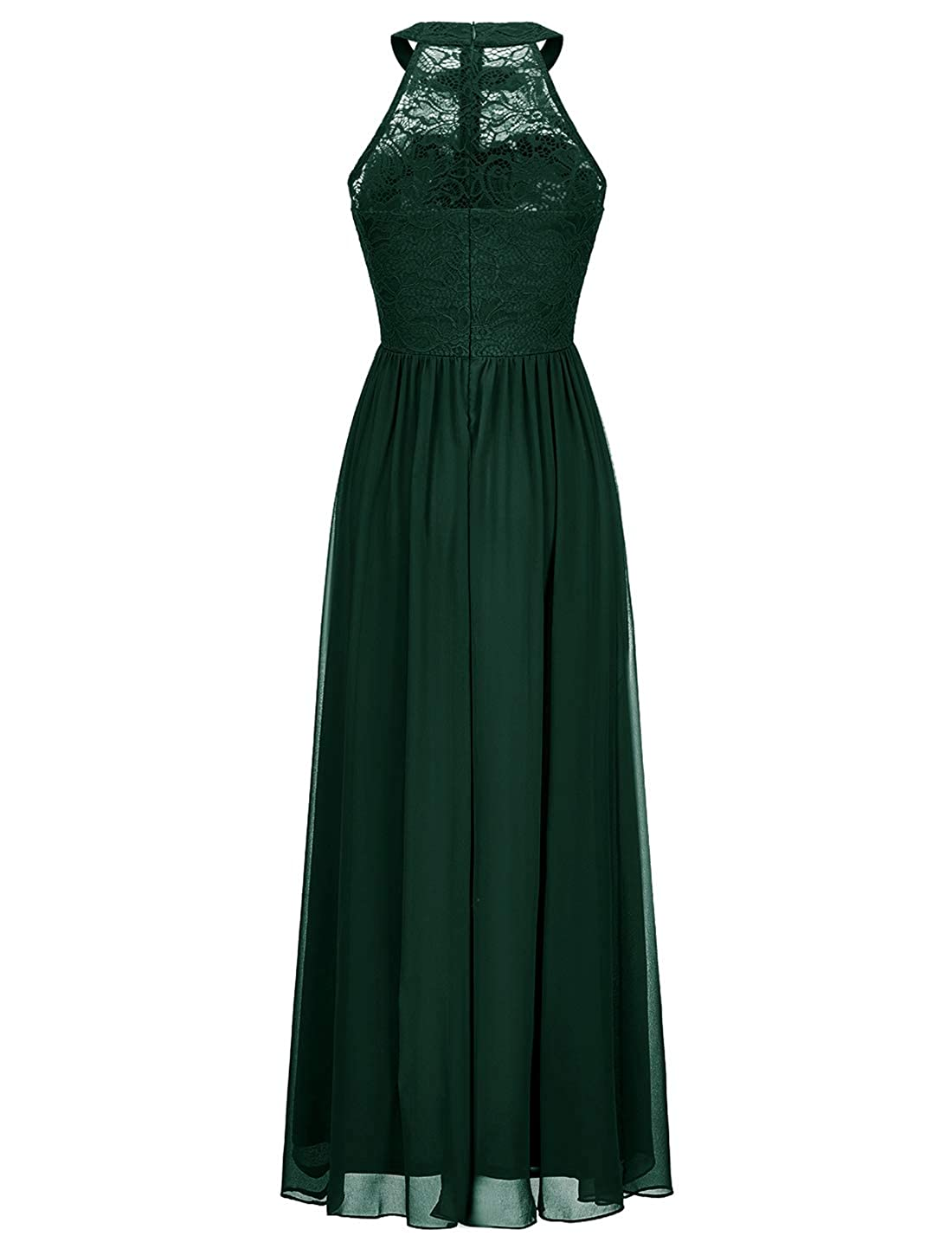 WedTrend Vintage Halter Lace Chiffon Long Bridesmaid Dress Wedding Party Evening Gowns