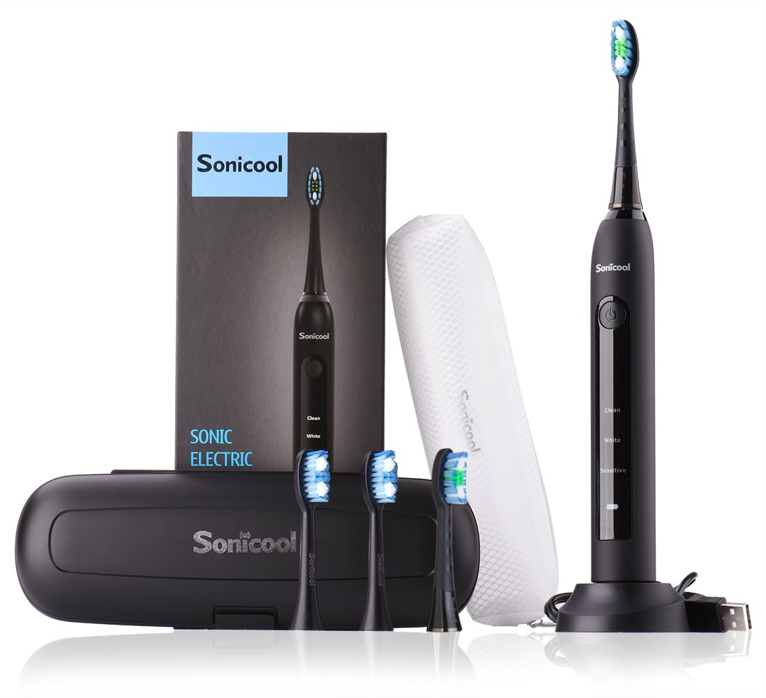 Sonicool Sonic Electric Toothbrush 48000 Vibrations Deep Clean As Dentist Rechargeable Toothbrush 2 Minutes Timer 3 Brushing Modes 4 Replacement Heads (Black Electric Toothbrush) by Sonicool