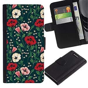 Planetar® Modelo colorido cuero carpeta tirón caso cubierta piel Holster Funda protección Para Sony Xperia Z3 Compact /D5803 / D5833 ( Floral Flowers Green )