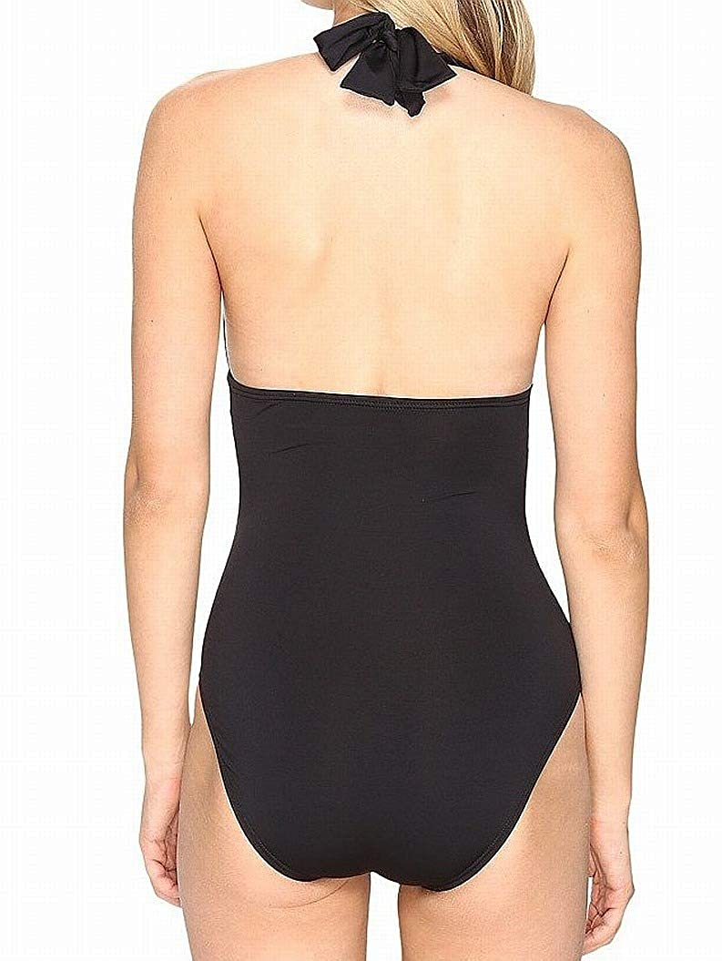 Tommy Bahama Womens Pearl Pleated Halter One-Piece