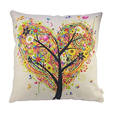 HOSL colourful Heart Shape Tree Cotton Linen Square Decorative Throw Pillow Case Cushion Cover 17.3*17.3 Inch (44CM*44CM)