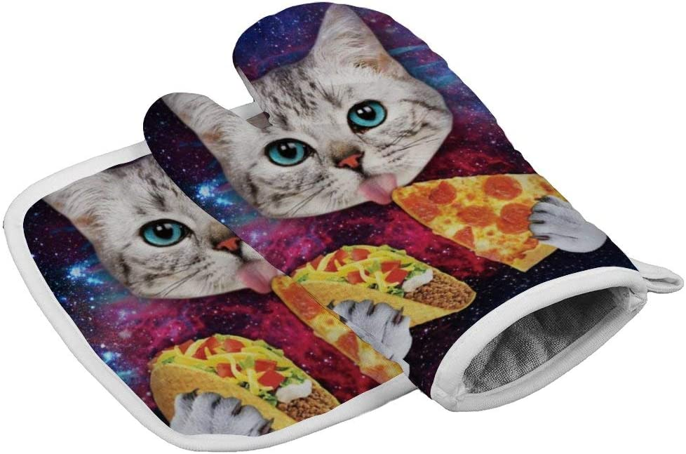 MOONLIT DECAYED Galaxy Cat Eat Pizza - Oven Mitts with Quilted Cotton Lining, Kitchen Insulated Heat Resistant Gloves - for BBQ, Food, Grilling, Frying, Baking