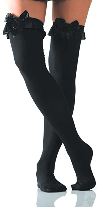 e12843116 Amazon.com  Foot Traffic - Opaque w Bow Thigh Highs  Clothing