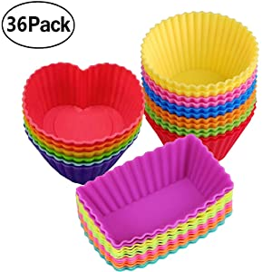 Silicone Baking Cups Muffin Cupcakes Liners Molds Sets in Storage Container-36 Pack