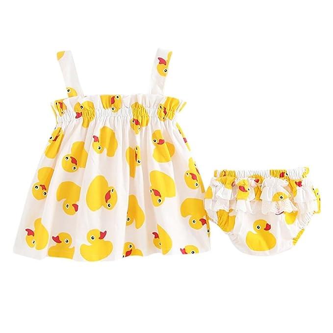Vestido Bautizo Niña, Zolimx Bebés Recién Nacidos Poco de Pato Amarillo Impresión Correa Vestido +