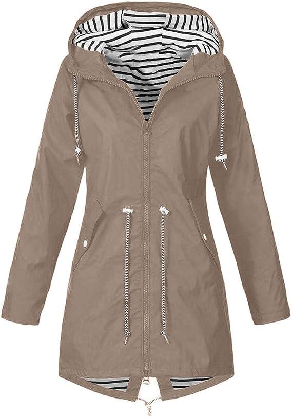 KPPONG Outdoorjacke Damen Langer Windbreaker Verstellbarer Allwetterjacke Funktionsjacke Regenjacke /Übergangsjacke