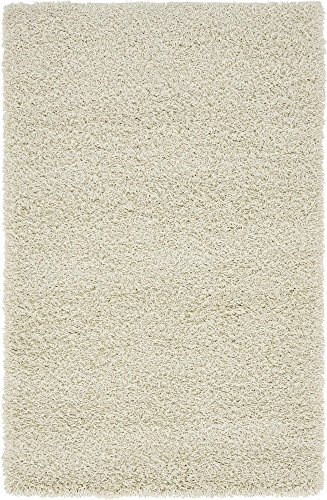 (Unique Loom Solo Solid Shag Collection Modern Plush Pure Ivory Area Rug (3' 3 x 5' 3))