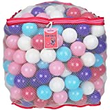 Click N' Play Value Pack of 400 Crush Proof Plastic Play Balls, Phthalate Free BPA Free, 5 Pretty Feminine Colors in Reusable and Durable Mesh Storage Bag with Zipper-