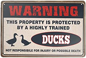 Rellcolle Retro Metal Tin Sign Duck Warning The Duck Cage Rules Aluminum Sign for Home Bar Wall Art Decor 11.8x7.8 Inch