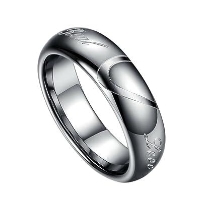 Amazon Com Fr Tungsten Carbide Wedding Rings Couples Heart Puzzle