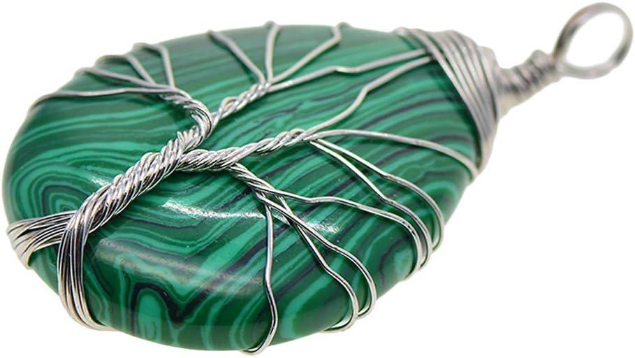 Árbol De La Vida Colgante De Piedras Preciosas/Encantos/Joyas Halladas Envueltas con Alambre De Latón - Plata de malaquita