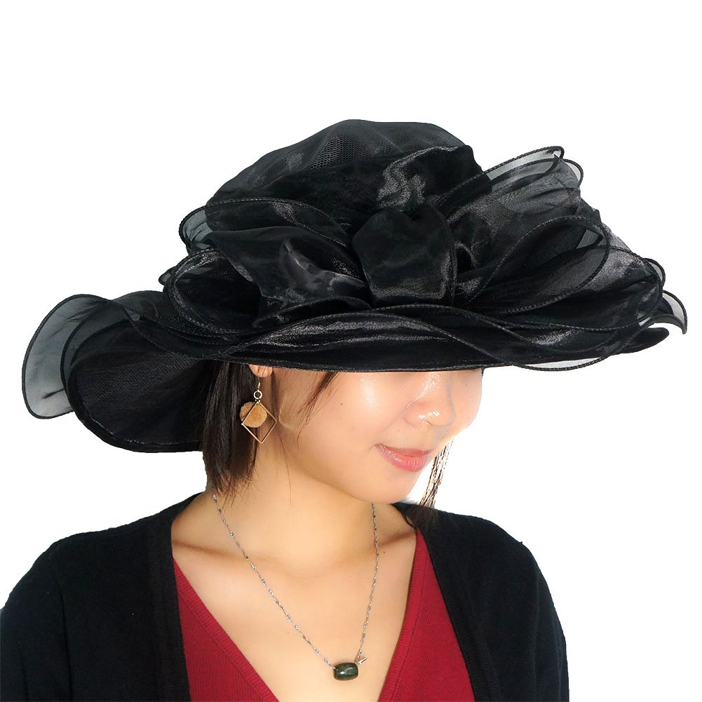30feeba902 June's Young Women Race Hats Organza Hat with Ruffles Feathers (Black) at  Amazon Women's Clothing store: