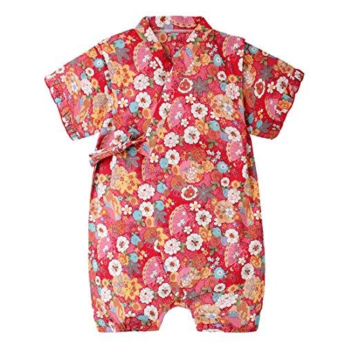 PAUBOLI Baby Japanese Kimono Robe Organic Cotton Infant Comfy Loose Pajamas (9-18 Months, 14) ()