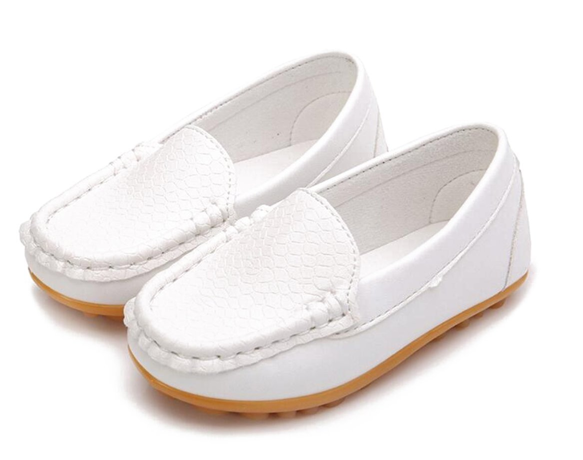 Otamise Girls Boys Leather Oxford Loafer Slip on Boat Flats Shoes (Little Kid / Big Kid) White US 10M
