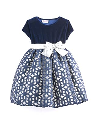 45d0ee5d Blueberi Boulevard Baby Girls Floral Geometric Special Occasion Dress, Navy  (24 Months)
