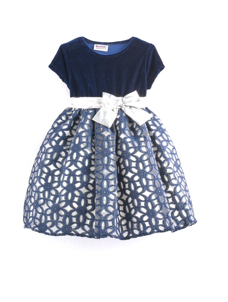 Blueberi Boulevard Baby Girls Floral Geometric Special Occasion Dress, Navy (18 Months)