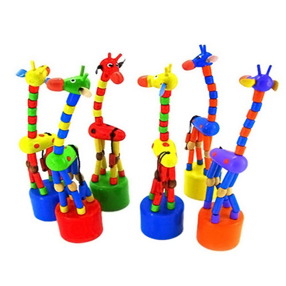 Ama-ZODE Kid Developmental Toy Baby Dancing Rocking Standing Colorful Giraffe Wooden Toys AXSSD-000716