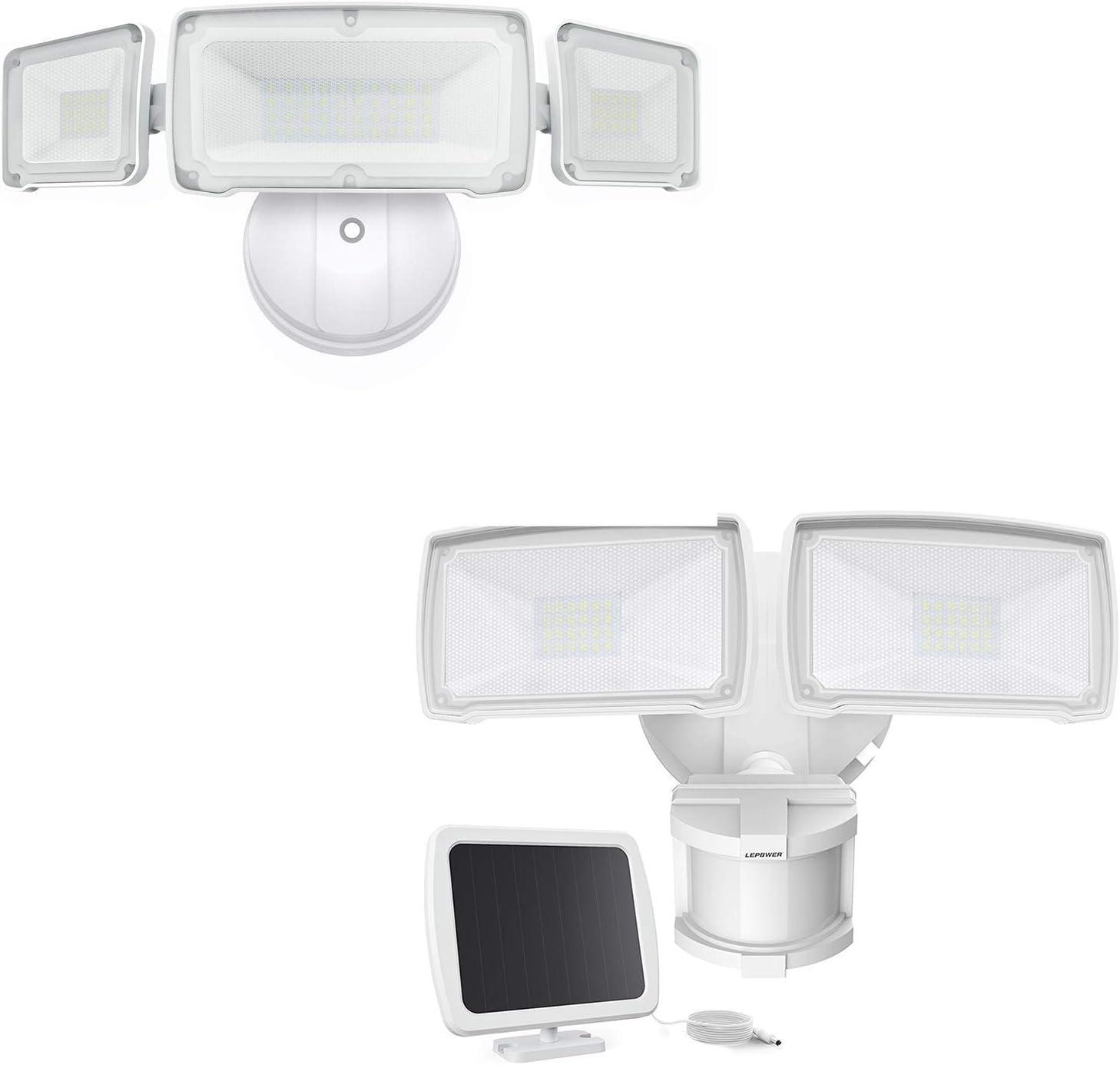 LEPOWER LED Security Lights Outdoor, Adjustable Head Security Light, 5500K White Light, IP65 Waterproof Flood Light for Garage, Yard, Patio(Dusk to Dawn& Solar Power)