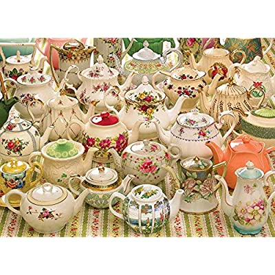 Cobble Hill Puzzles Teapots Too 1000 Piece Collages & Assortments Jigsaw Puzzle: Toys & Games