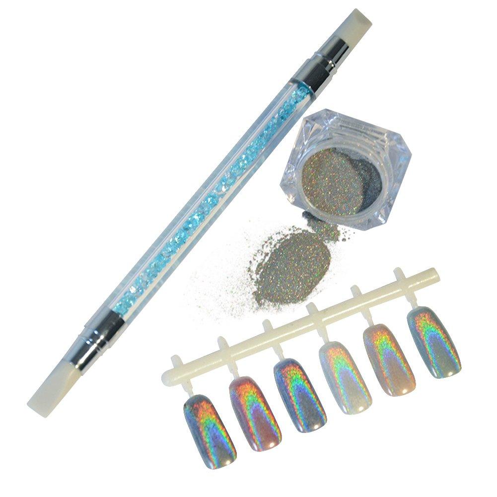 BORN PRETTY 1g Holographic Rainbow Laser Glitter Powders with Silicone Brush Manicure Nail Art Decoration