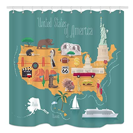 Amazon.com: America Map Shower Curtain, Statue of Liberty ... on united states map high resolution, united states map tumbler, united states map pillow, united states map large wall, united states map quilt, united states map fabric, united states map rug, united states map clock, united states military armed forces, united states map art, united states map placemat, united states map food, united states map comforter, united states map with rivers, united states map wallpaper, united states map with landmarks, united states map wall mural, united states map zoom in, united states map rhode island, united states map decor,