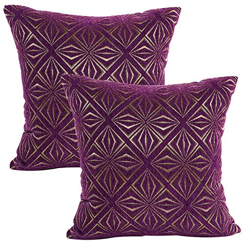 Treely Decorative Pillow Covers 18x18 Inches Diamond Chenille Throw Pillow Covers for Sofa Couch Bedroom Car(Pack of ()