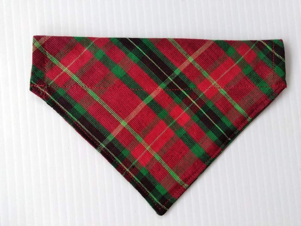 Scottish Plaid Festive St Patrick's Day Kilt Dog Bandana, Slip-On Doggie neckwear, Red Green Petwear, Holiday dog clothing, Pet over the collar reversible dogwear