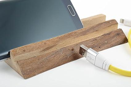 Sujetador para movil ecologico de madera artesanal original pequeno bonito