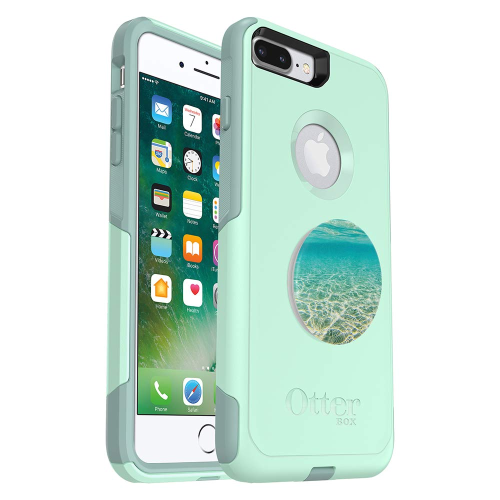 OtterBox Commuter Series Case for iPhone 8 Plus & iPhone 7 Plus (ONLY) - (Teal) + PopSockets PopGrip: Collapsible Grip & Stand for Phones and Tablets - (Color Burst Gloss)