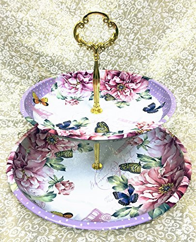 Charmed Vintage Floral pattern 2 tier cake and pastry stand server (Lavender) (Serving Plate Floral)