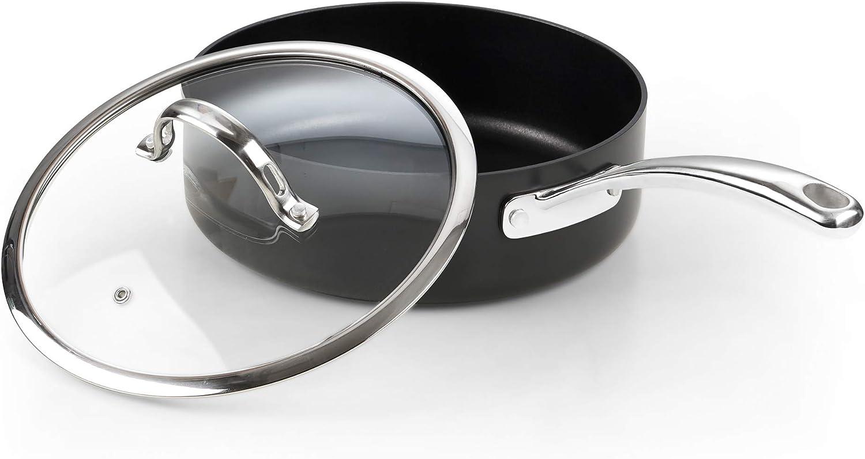 Cooks Standard 02678 3.5 QT Hard Anodized Nonstick Deep Saute pan with Lid, Black