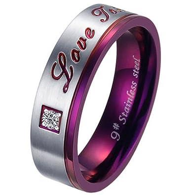 JewelryWe Joyas Moda de acero inoxidable del anillo del amor anillo de promesa púrpura (6