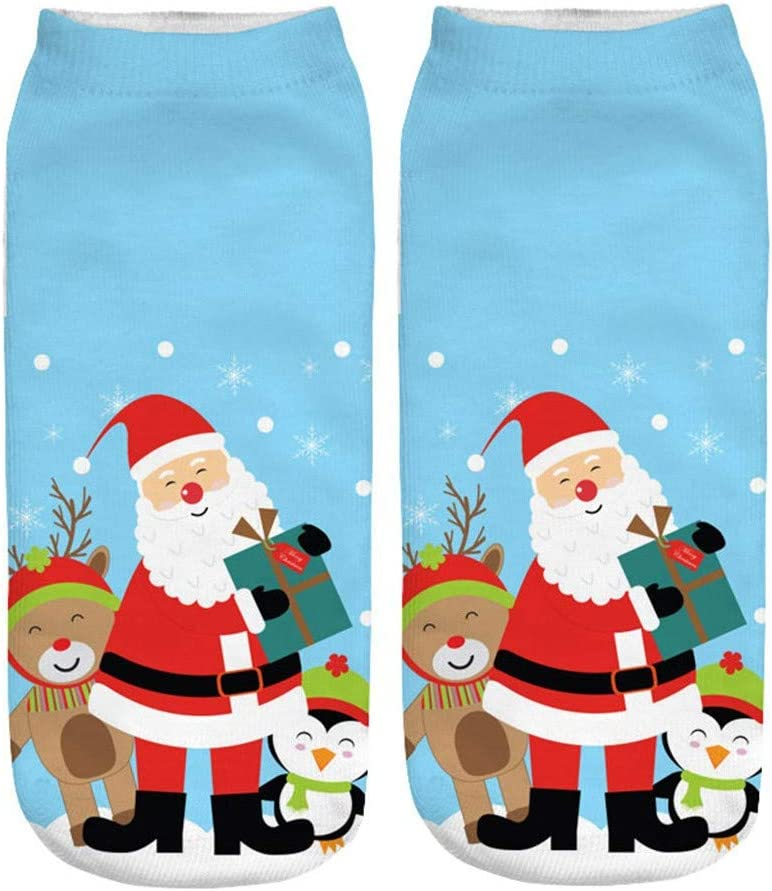 Amazon Com Ilooskr Christmas Casual Work Business Socks 3d Christmas Elements Printing Medium Sports Socks Home Kitchen