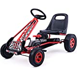 Costzon Go Kart, 4 Wheel Pedal Powered Ride On, Outdoor Racer with Adjustable Seat, Rubber Wheels, Brake, Ride On Pedal…