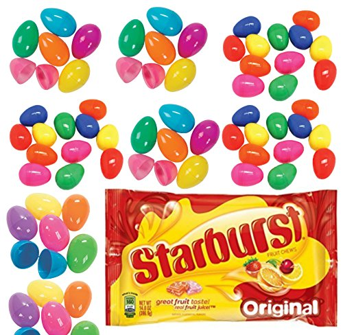 72 Plastic Easter Eggs, 1 Original Starburst Candy, 14 Oz - Great for DIY Baskets and Egg Hunt Fun for Boys or (Garland Cup Only Flat)