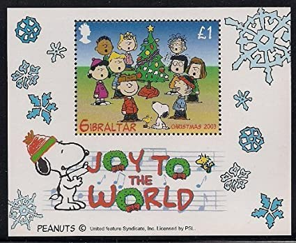 Charlie Brown Snoopy Peanuts Joy To The World Christmas Collectible Postage Stamp Gibraltar